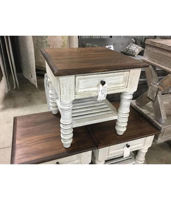 Farmhouse Stone White End Table Oak Top Head Springs Depot Inc