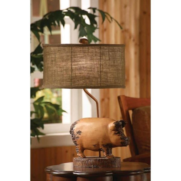 Distressed Pig Table Lamp w/Burlap Oval Shade CVARP358