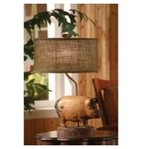 "Crestview Distressed Pig Table Lamp (11/17x11/17x9"" Burlap Oval Shade) CVARP358"