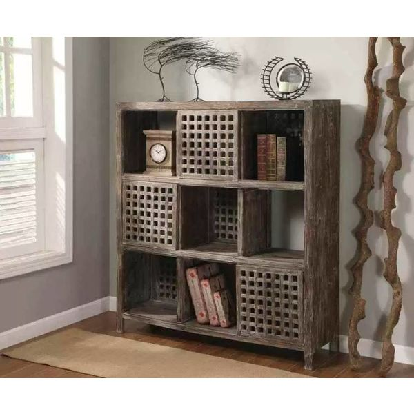 Solid Wood Wall Unit in Rustic Wood Finish CVFZR299