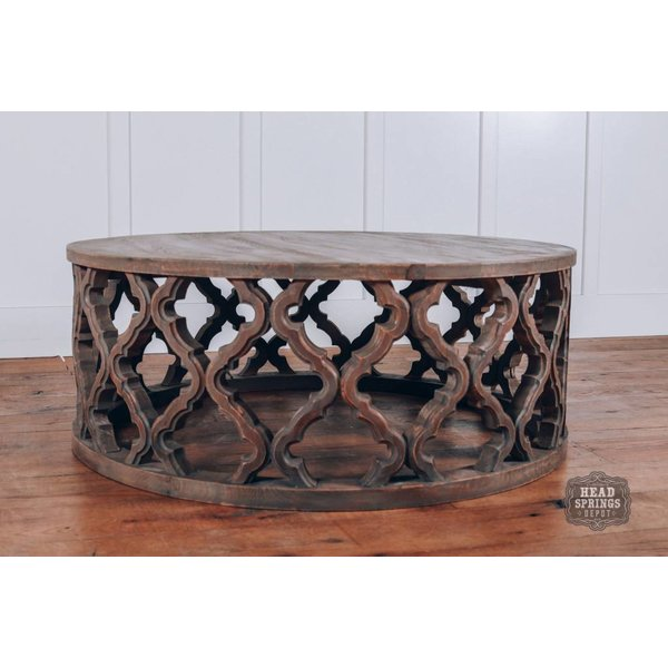 Clover Round Coffee Table in Light French Grey