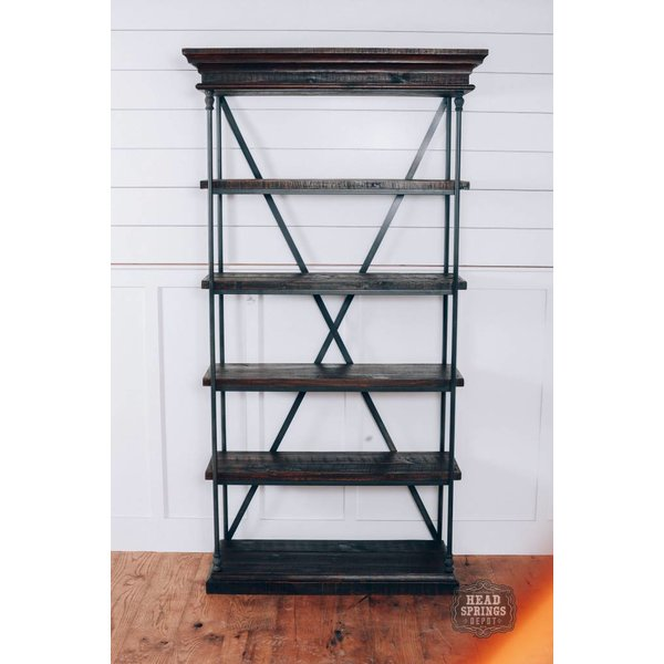 "Farmhouse 32"" Iron Bookcase Rodeo JON90-DB"
