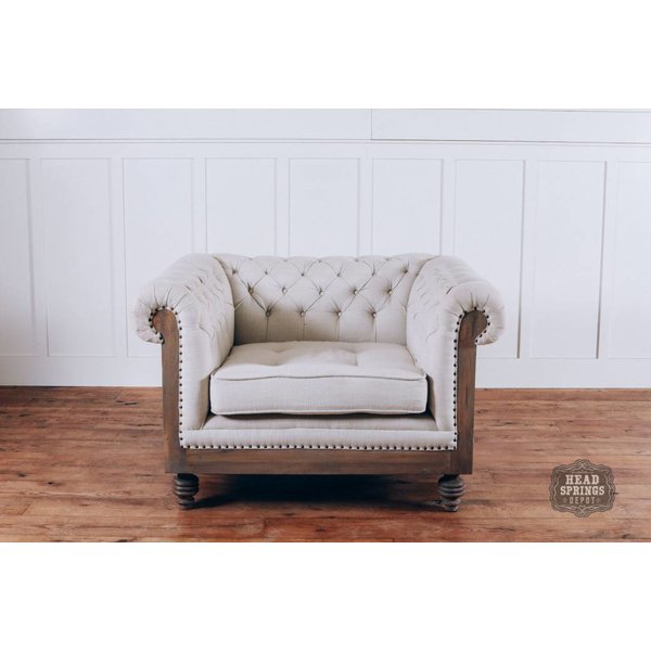 Anna Deconstructed Chesterfield Arm Chair with Fabric (Milano 104)