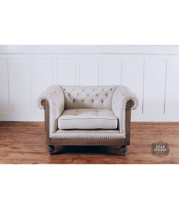 Pink City Industries Anna Deconstructed Chesterfield Arm Chair with Fabric (Milano 104)