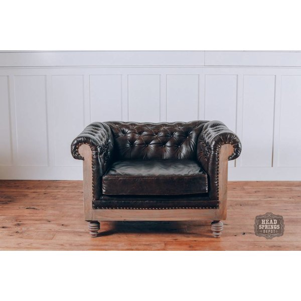 Anna DeConstructed Chesterfield Arm Chair with Leather (Pavilion)