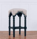Fox & Roe Bobbin Leg Bar Stool Black Paris Linen Fabric