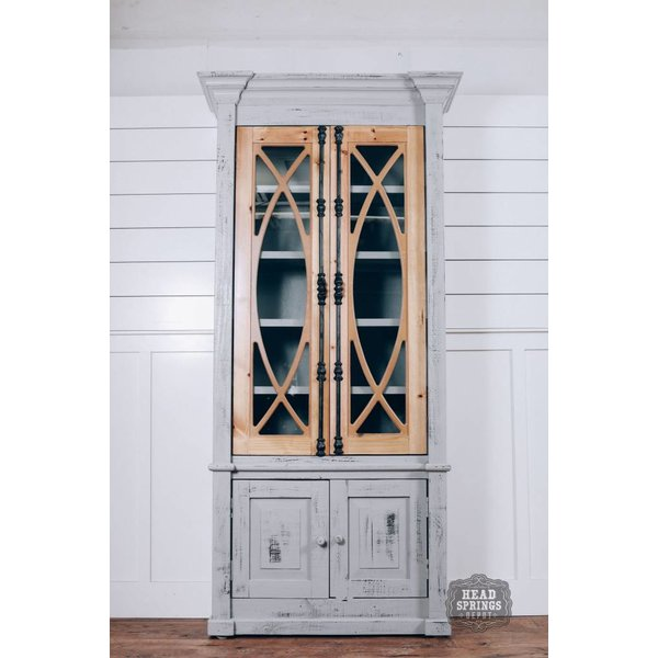 Farmhouse Tall Vitrine with Glass Doors Nero Gray with Lite Doors (A) LN-VIT-585-BG-NGY