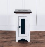 Farmhouse by Head Springs Depot Farmhouse Barndoor Mesh Side Table Nero White with Rodeo Top Solid Wood Side Table Farmhouse Style