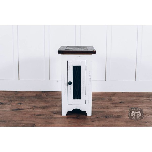 Farmhouse Barndoor Mesh Side Table Nero White Rodeo Top