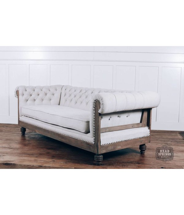 Anna Deconstructed Chesterfield Sofa With Fabric Milano 104 Head
