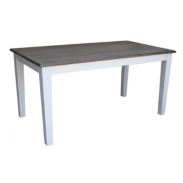 Pranjo Table 6' Theo Top Wire Brush White Base Dining Table