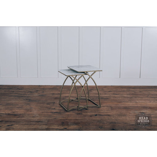 Fox & Roe Square Top Nesting Marble Top Tables Iron Marble Gold