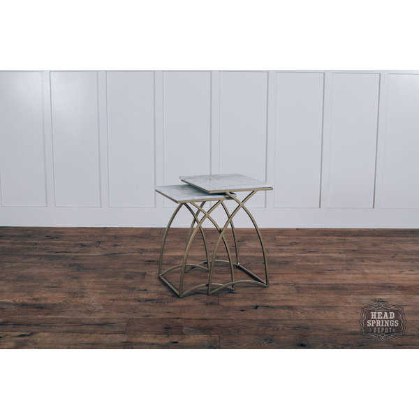 Square Top Nesting Marble Top Tables Iron Marble Gold