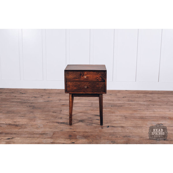 Mid Century Night Stand Mango Strip Pine