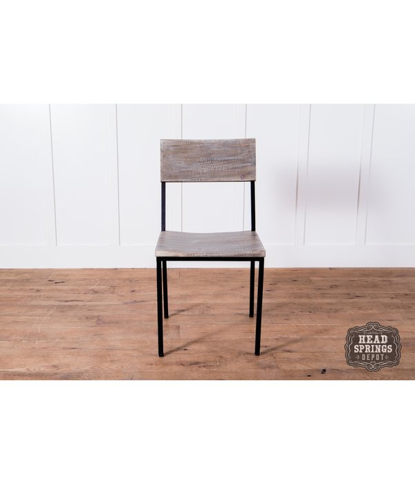 Fox & Roe Industrial Dining Chair Strip Pine / Black