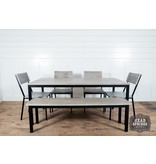 Fox & Roe Industrial Dining Table Strip Pine / Black