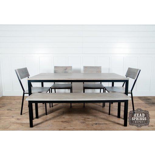 Fox & Roe Industrial Dining Table Strip Pine / Black