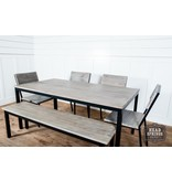 Fox & Roe Industrial Dining Bench Strip Pine / Black