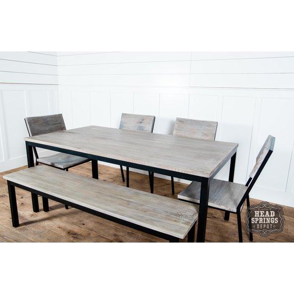 Industrial Dining Bench Strip Pine / Black