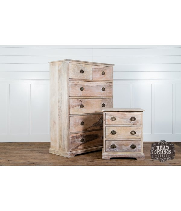 Fox & Roe Martha Tallboy Dresser Limewash Finish