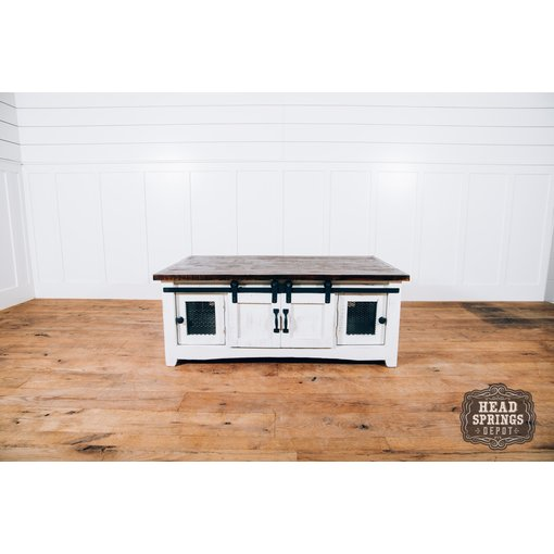 Farmhouse by Head Springs Depot Farmhouse Mesh Coffee Table with Sliding Barn Doors Nero White w/ Rodeo Top