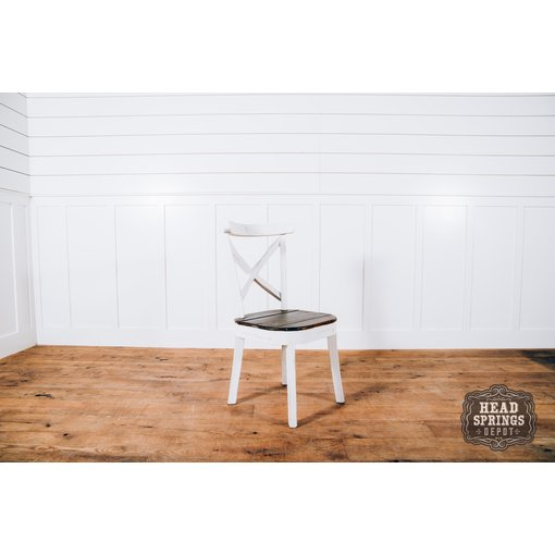 Farmhouse by Head Springs Depot The Jenny Farmhouse Curved X Back Chair Nero White w/ Rodeo Top JON-SIL-449