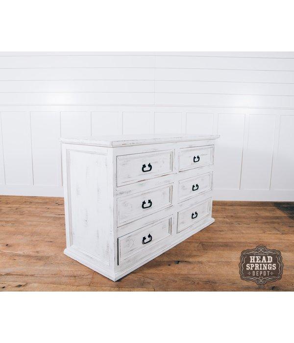 Farmhouse Emma 6 Drawer Dresser Nero White