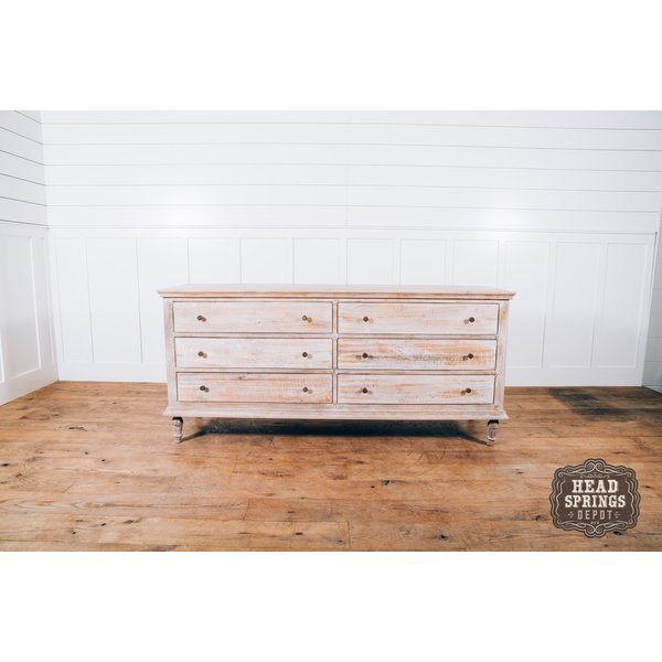 Maison 6 Drawer Dresser Mango Burnt White