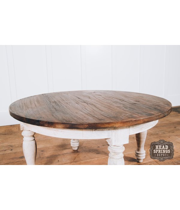 Fox & Roe Colonial Round Coffee Table Theo Top Wire Brush White Base