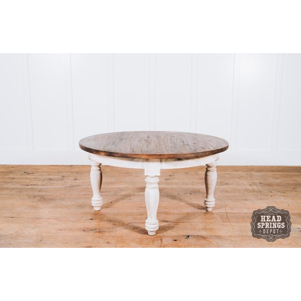 Colonial Round Coffee Table Theo Top Wire Brush White Base