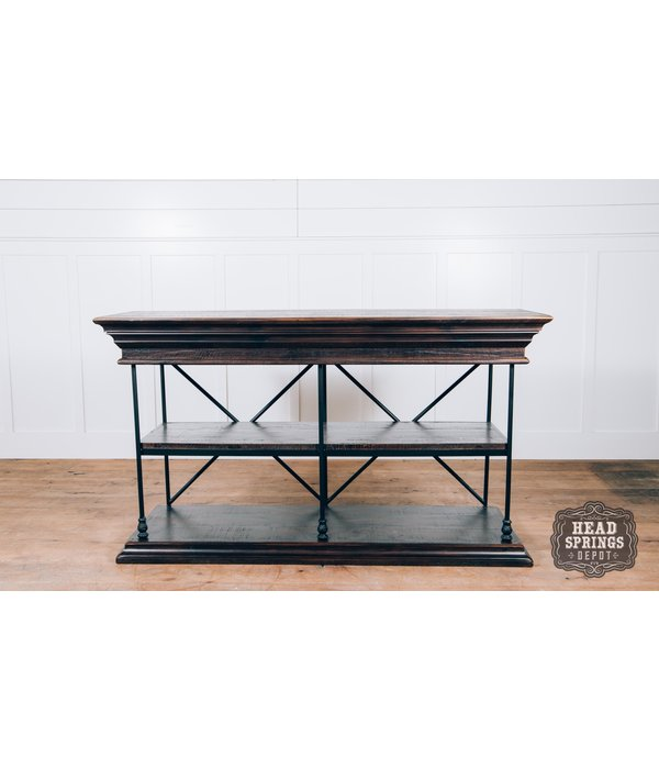 "Farmhouse by Head Springs Depot Farmhouse Industrial Iron Bookcase Media Stand Roasted Coffee w/ Flat Topcoat 61"" x 34"""