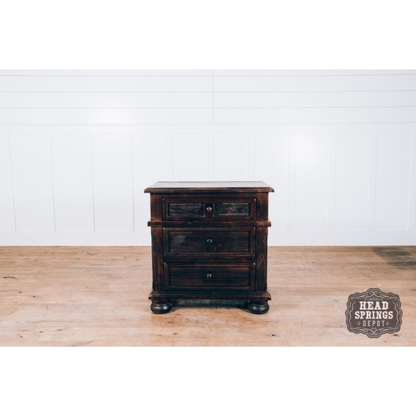 The Rachel 3 Drawer Night Stand in Roasted Coffee w/ Flat Top Coat