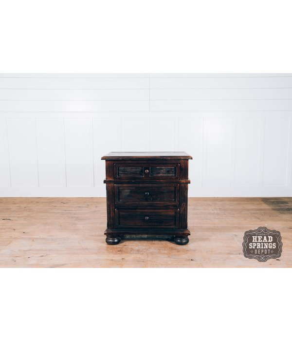 Farmhouse by Head Springs Depot The Rachel 3 Drawer Night Stand in Roasted Coffee w/ Flat Top Coat