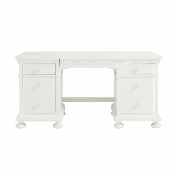 Stone & Leigh Furniture Smiling Hill - Pedestal Desk Marshmallow Finish