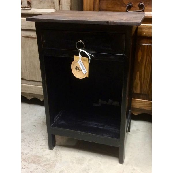Pacific Side Table Antique Black / Raftwood Top PP-TAB2273S