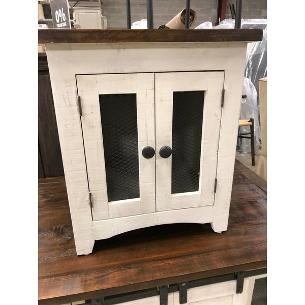 Farmhouse Barndoor Mesh End Table