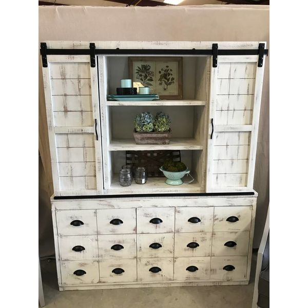 Farmhouse Joanna China Sliding Door Hutch and Base