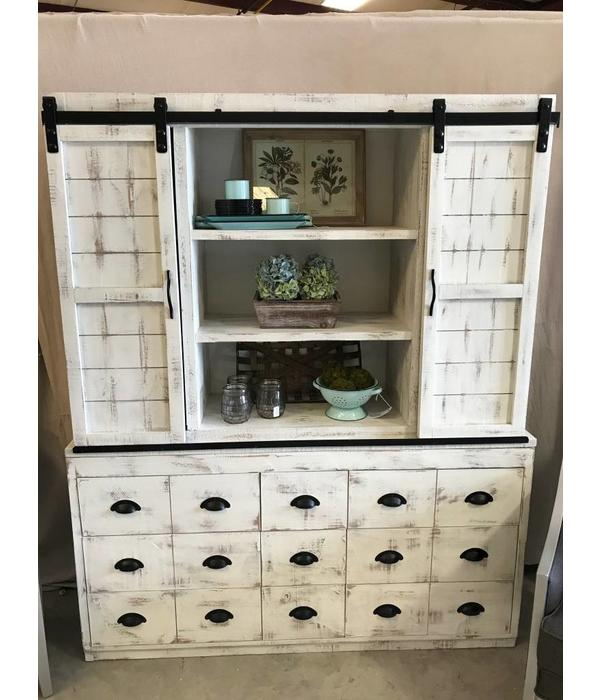 Farmhouse by Head Springs Depot Farmhouse Joanna China Sliding Door Hutch and Base