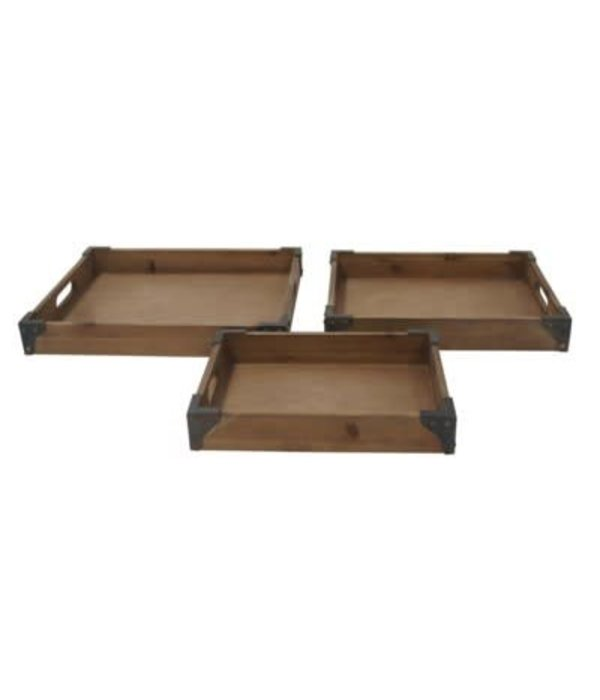 Crestview Set of 3 Rustic Trays