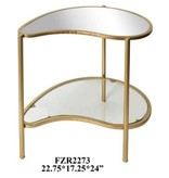 Crestview Athena Gold Kidney Shaped Accent Table