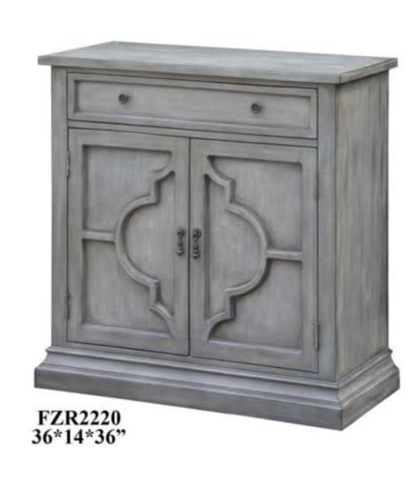 Crestview Chadwick Antiqued Grey 2 Door Quatrefoil / 1 Drawer Cabinet