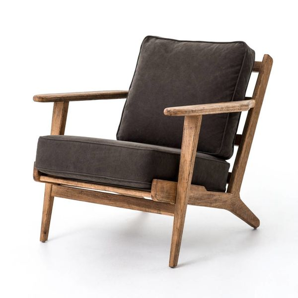 Four Hands Brooks Lounge Chair Stonewash Green Old Oak