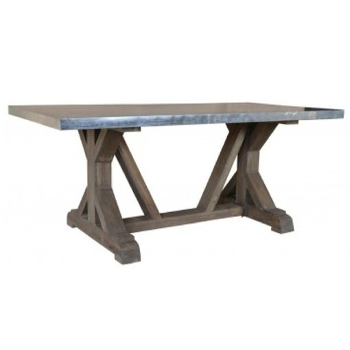 Fox & Roe Rail Road Dining Table 6' Light French Gray