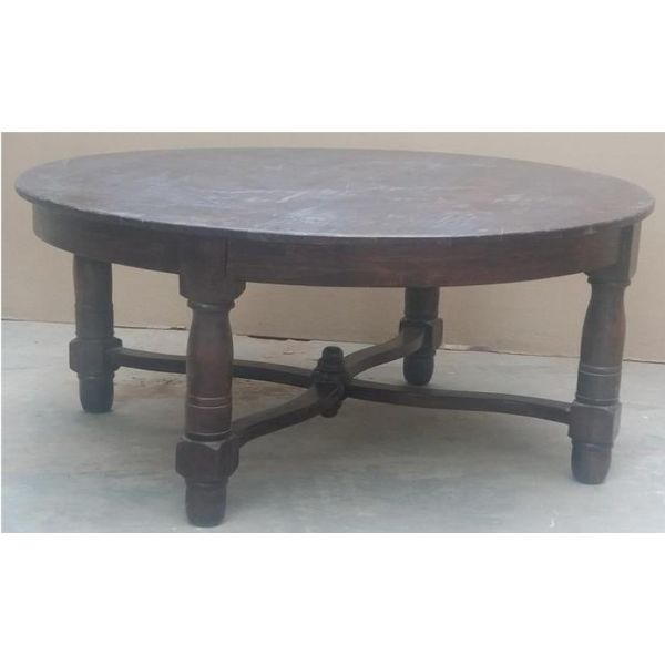 German Round Coffee Table Matte Chestnut