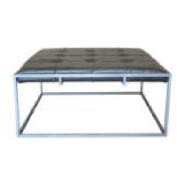 Square Ottoman / Coffee Table with Grey Leather Silver Charcoal