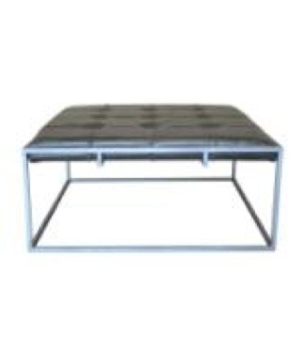 Square Ottoman Coffee Table With Grey Leather Silver