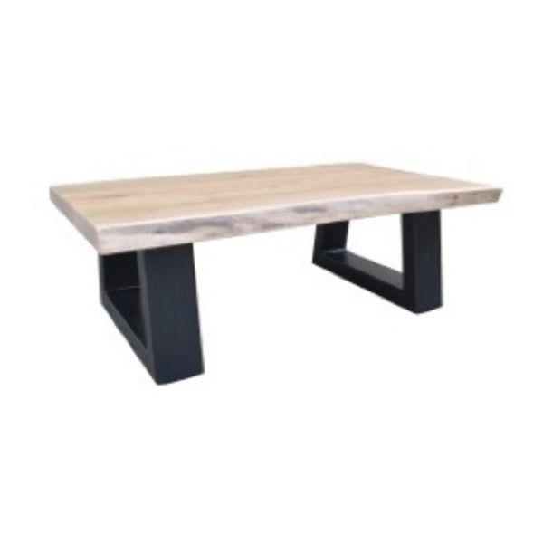 Live Edge Coffee Table Slant Leg Acacia Natural Black