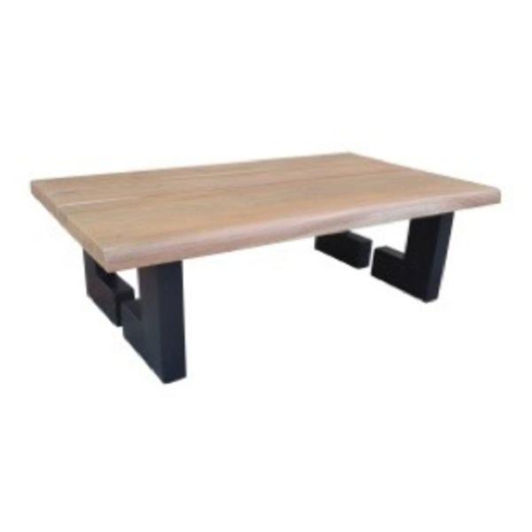 Live Edge Coffee Table Straight Leg Acacia Natural Black