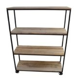 Pink City Industries 4 Tier Open Bookcase Square Pipe Mango Natural Black