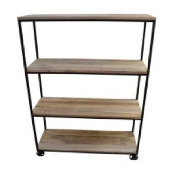 4 Tier Open Bookcase Square Pipe Mango Natural Black